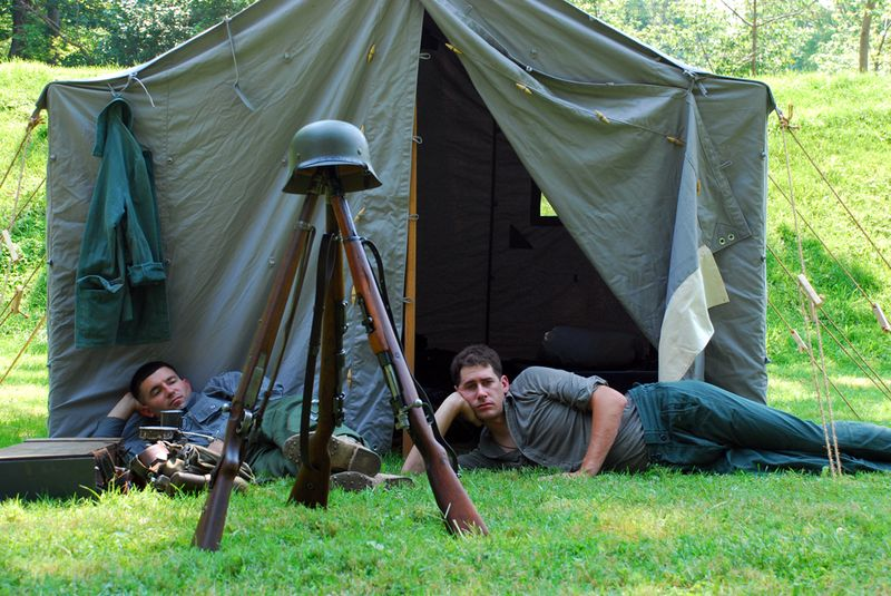 Lounging soldiers