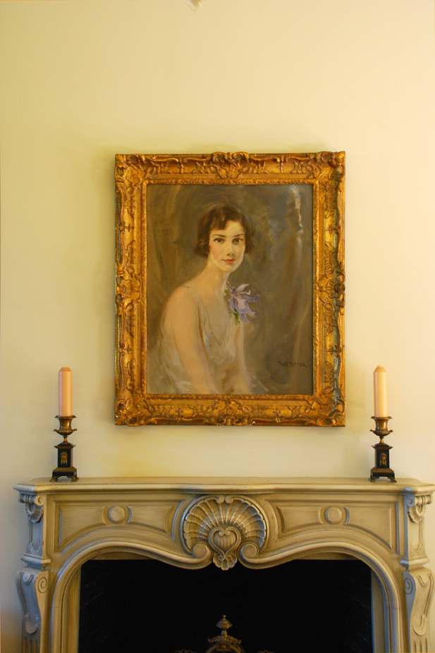 Portrait above fireplace bloedel