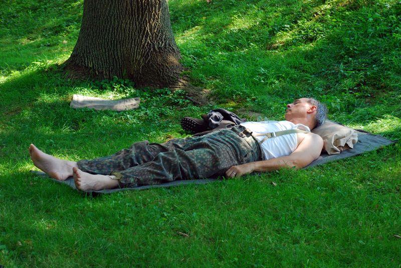 Sleeping soldier close