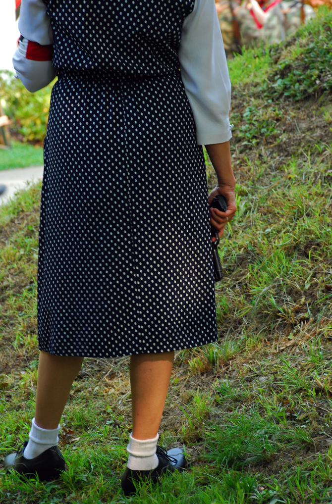 Polka dot dress with pistol